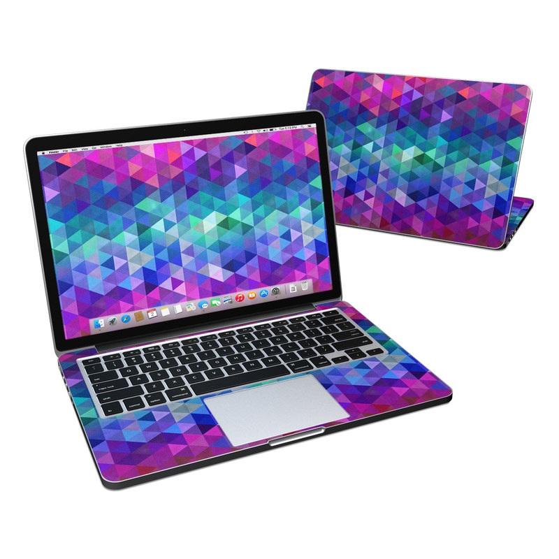 MacBook Pro Pre 2016 Retina 13-inch Skin design of Purple, Violet, Pattern, Blue, Magenta, Triangle, Line, Design, Graphic design, Symmetry with blue, purple, green, red, pink colors