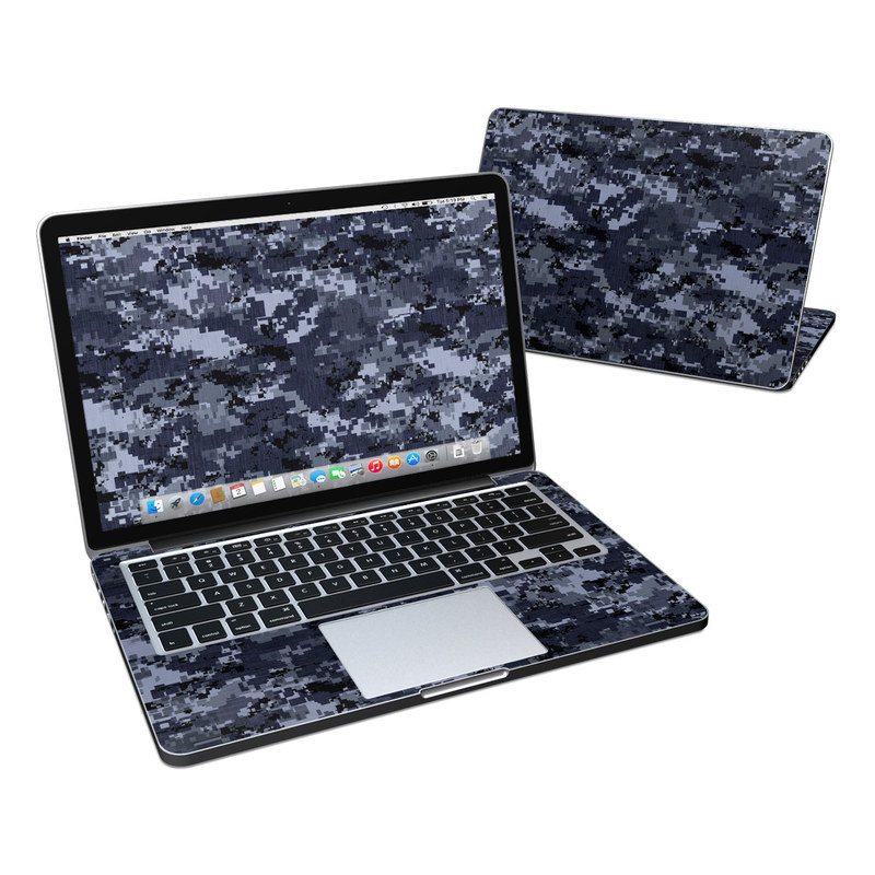 MacBook Pro Pre 2016 Retina 13-inch Skin design of Military camouflage, Black, Pattern, Blue, Camouflage, Design, Uniform, Textile, Black-and-white, Space with black, gray, blue colors