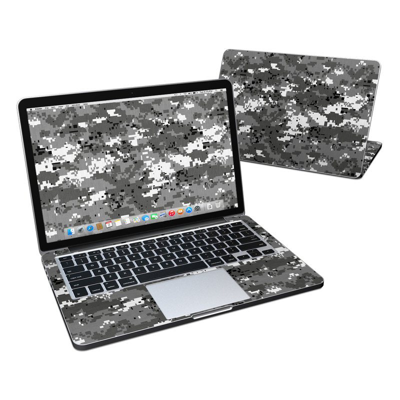 MacBook Pro Pre 2016 Retina 13-inch Skin design of Military camouflage, Pattern, Camouflage, Design, Uniform, Metal, Black-and-white with black, gray colors