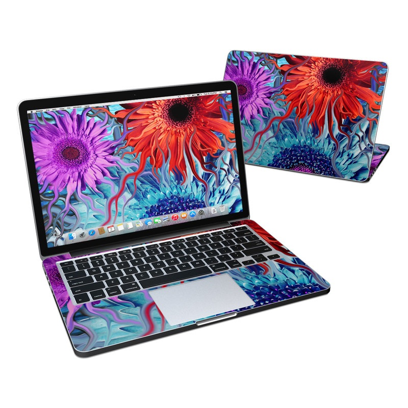 MacBook Pro Pre 2016 Retina 13-inch Skin design of Psychedelic art, Pattern, Organism, Colorfulness, Art, Flower, Petal, Design, Fractal art, Electric blue with red, black, blue, purple, gray colors