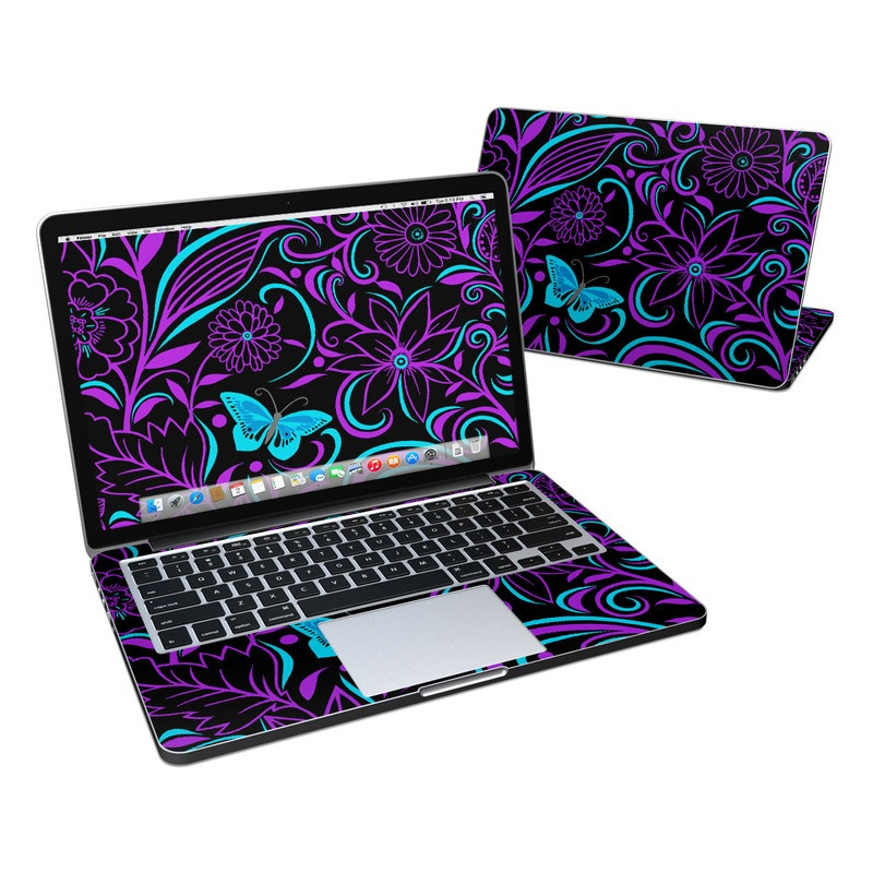 MacBook Pro Pre 2016 Retina 13-inch Skin design of Pattern, Purple, Violet, Turquoise, Teal, Design, Floral design, Visual arts, Magenta, Motif with black, purple, blue colors