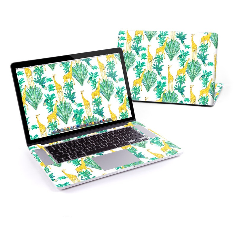 MacBook Pro Pre 2016 Retina 13-inch Skin design of Leaf, Plant, Botany, Pattern, Flower with white, yellow, green colors