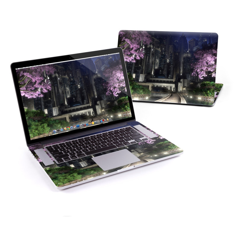 MacBook Pro Pre 2016 Retina 13-inch Skin design of Nature, Metropolitan area, Purple, Landmark, Metropolis, Tree, Sky, Night, Architecture, Spring with blue, gray, green, pink colors