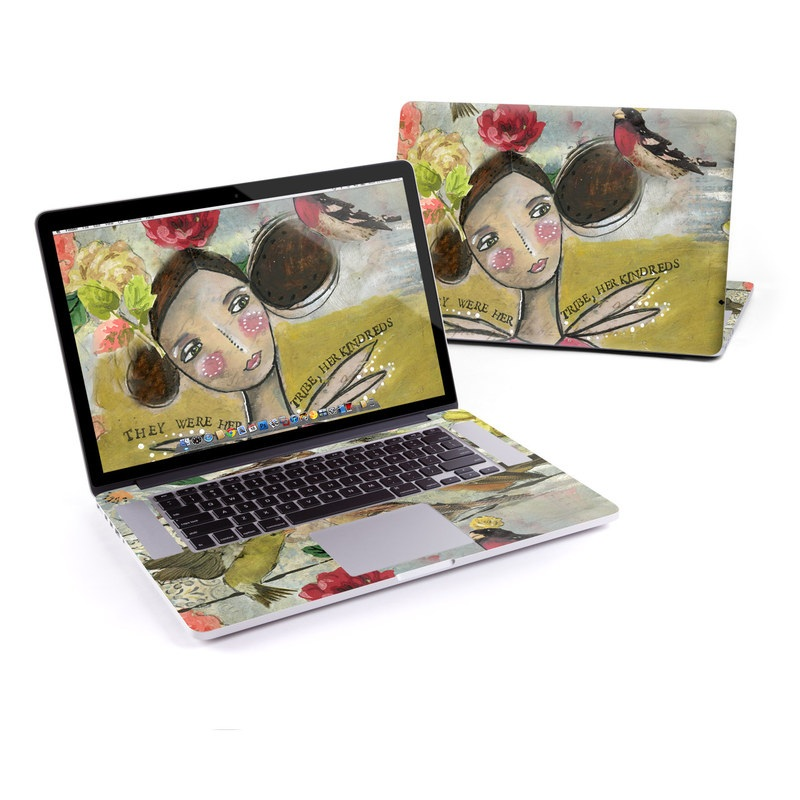MacBook Pro Pre 2016 Retina 13-inch Skin design of Watercolor paint, Bird, Painting, Finch, Illustration, Art, Songbird, Perching bird, Plant, House sparrow with green, red, brown, pink, yellow colors
