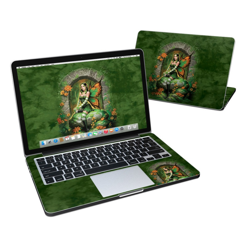 MacBook Pro Pre 2016 Retina 13-inch Skin design of Fictional character, Cg artwork, Mythology, Mythical creature, Illustration, Plant, Art with black, green, red, gray colors
