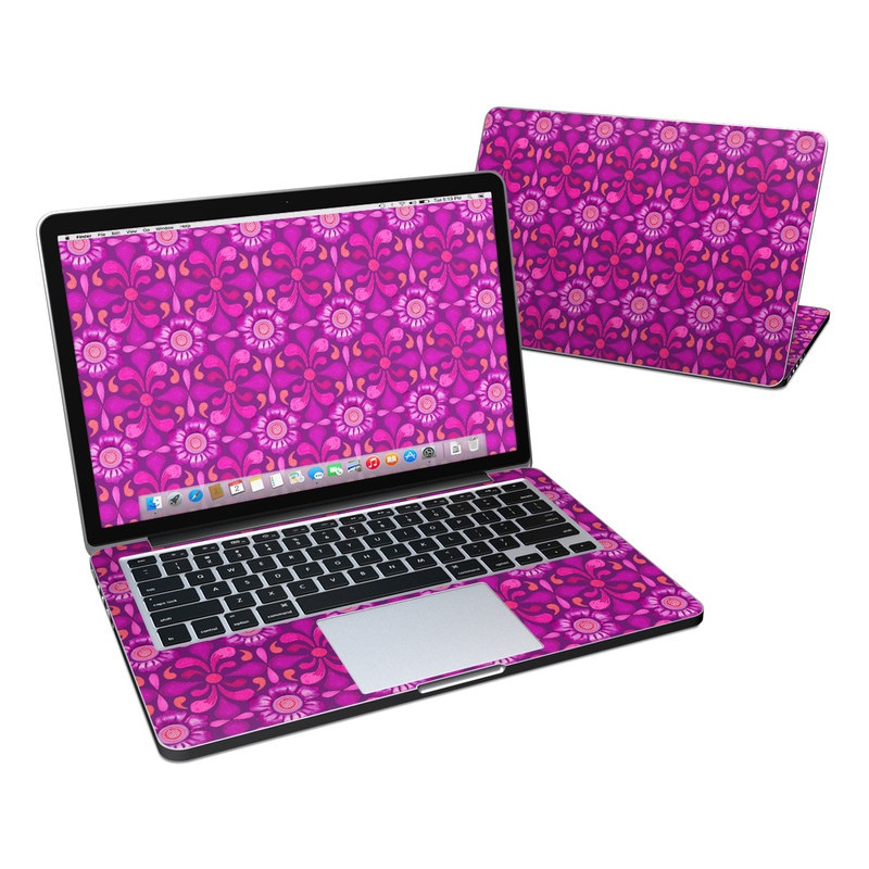 MacBook Pro Pre 2016 Retina 13-inch Skin design of Pattern, Pink, Magenta, Purple, Violet, Design, Textile, Wrapping paper, Visual arts with purple, red, blue, pink, black, gray colors