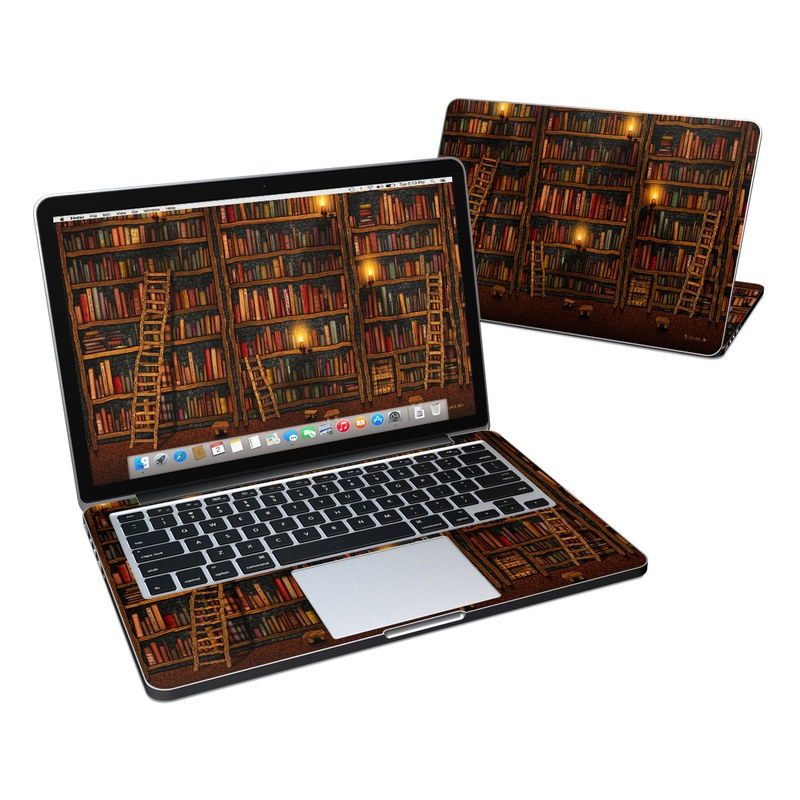 MacBook Pro Pre 2016 Retina 13-inch Skin design of Shelving, Library, Bookcase, Shelf, Furniture, Book, Building, Publication, Room, Darkness with black, red colors
