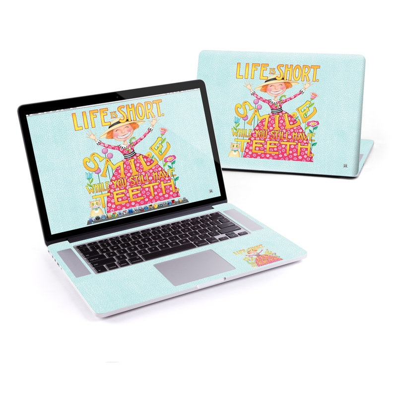 MacBook Pro Pre 2016 Retina 13-inch Skin design of Text, Poster, Font, Illustration, Happy, Art with blue, yellow, pink, green, orange, red, white, black colors
