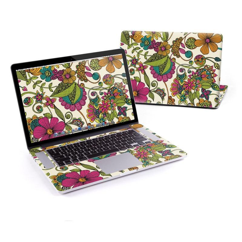 MacBook Pro Pre 2016 Retina 13-inch Skin design of Pattern, Floral design, Motif, Design, Visual arts, Botany, Pedicel, Flower, Plant, Textile with green, pink, orange, blue colors