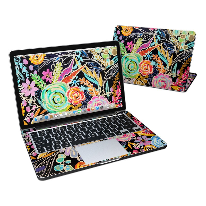 MacBook Pro Pre 2016 Retina 13-inch Skin design of Pattern, Floral design, Design, Textile, Visual arts, Art, Graphic design, Psychedelic art, Plant with black, gray, green, red, blue colors