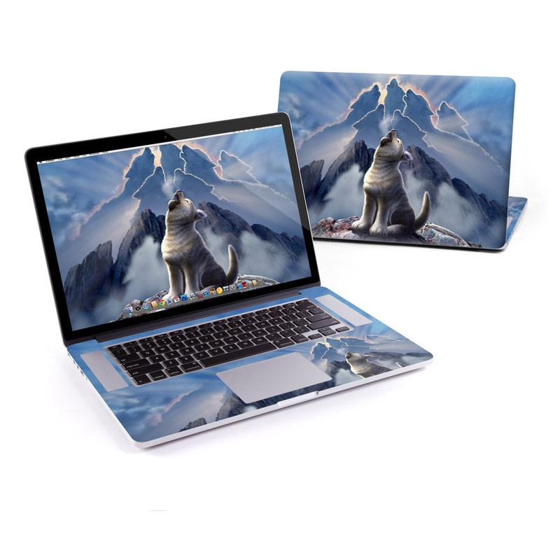 MacBook Pro Pre 2016 Retina 13-inch Skin design of Sky, Cloud, Atmosphere, Rock, Wolf, Photography, Cg artwork, Illustration, Mountain, Mythology with white, blue, gray, brown colors