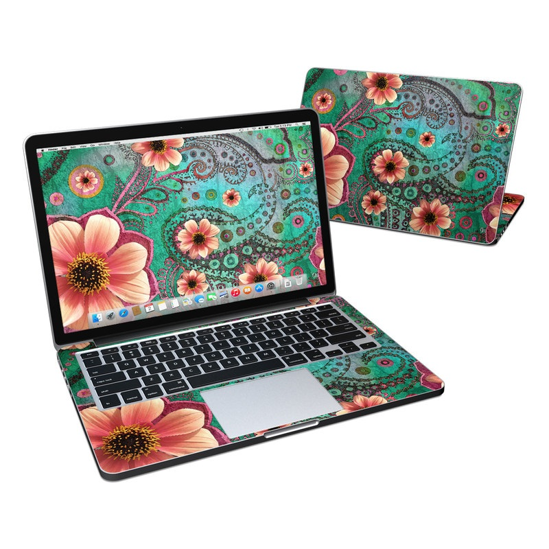 MacBook Pro Pre 2016 Retina 13-inch Skin design of Pink, Flower, Green, Petal, Floral design, Pattern, Plant, Wildflower, Botany, Gazania with black, red, blue, gray, green, pink colors