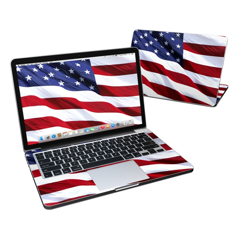 MacBook Pro Pre 2016 Retina 13-inch Skin design of Flag, Flag of the united states, Flag Day (USA), Veterans day, Memorial day, Holiday, Independence day, Event with red, blue, white colors