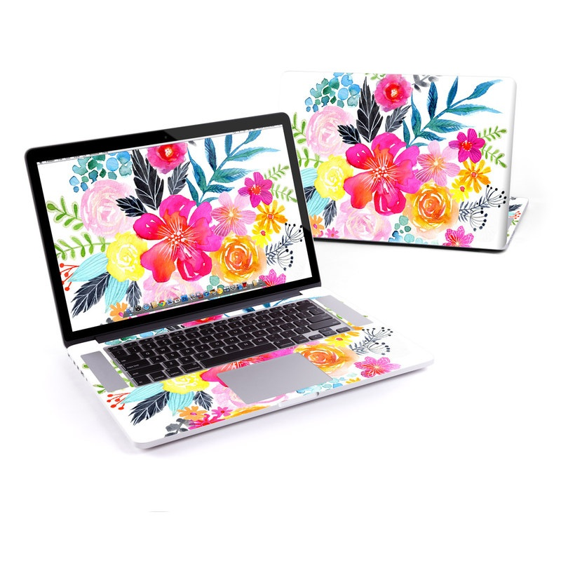 MacBook Pro Pre 2016 Retina 13-inch Skin design of Flower, Clip art, Bouquet, Plant, Illustration, Floral design, Pink, Petal, Botany, Design with white, pink, orange, red, yellow, blue, black, green colors
