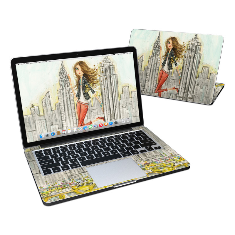 MacBook Pro Pre 2016 Retina 13-inch Skin design of Human settlement, Fashion illustration, Illustration, City, Art, Architecture, Drawing, Fictional character with gray, green, black, red colors