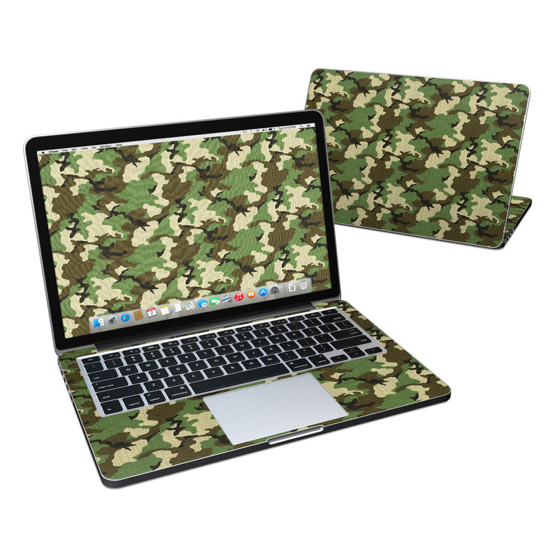 MacBook Pro Pre 2016 Retina 13-inch Skin design of Military camouflage, Camouflage, Clothing, Pattern, Green, Uniform, Military uniform, Design, Sportswear, Plane with black, gray, green colors