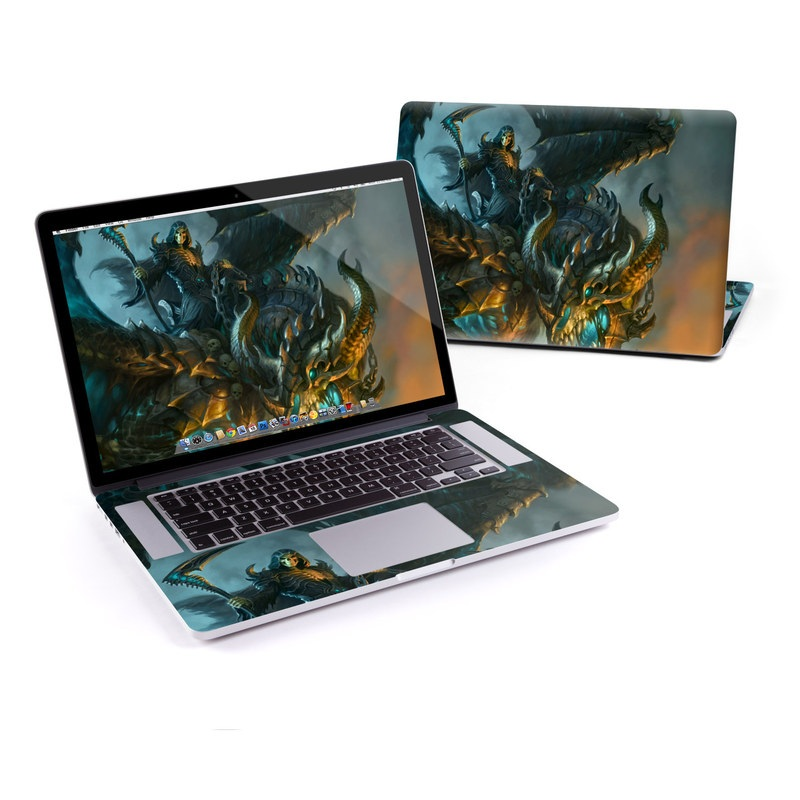 MacBook Pro Pre 2016 Retina 13-inch Skin design of Dragon, Cg artwork, Fictional character, Mythical creature, Demon, Mythology, Illustration, Cryptid, Art with orange, yellow, black, brown, blue, white colors