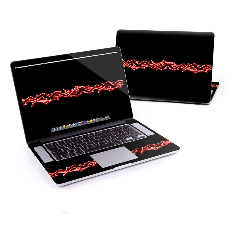 MacBook Pro Pre 2016 Retina 15-inch Skin design of Red, Neon, Font, Neon sign, Signage, Electronic signage with black, red colors