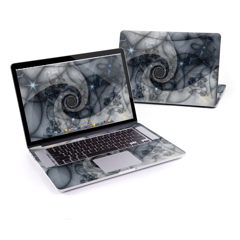 MacBook Pro Pre 2016 Retina 15-inch Skin design of Eye, Drawing, Black-and-white, Design, Pattern, Art, Tattoo, Illustration, Fractal art with black, gray colors