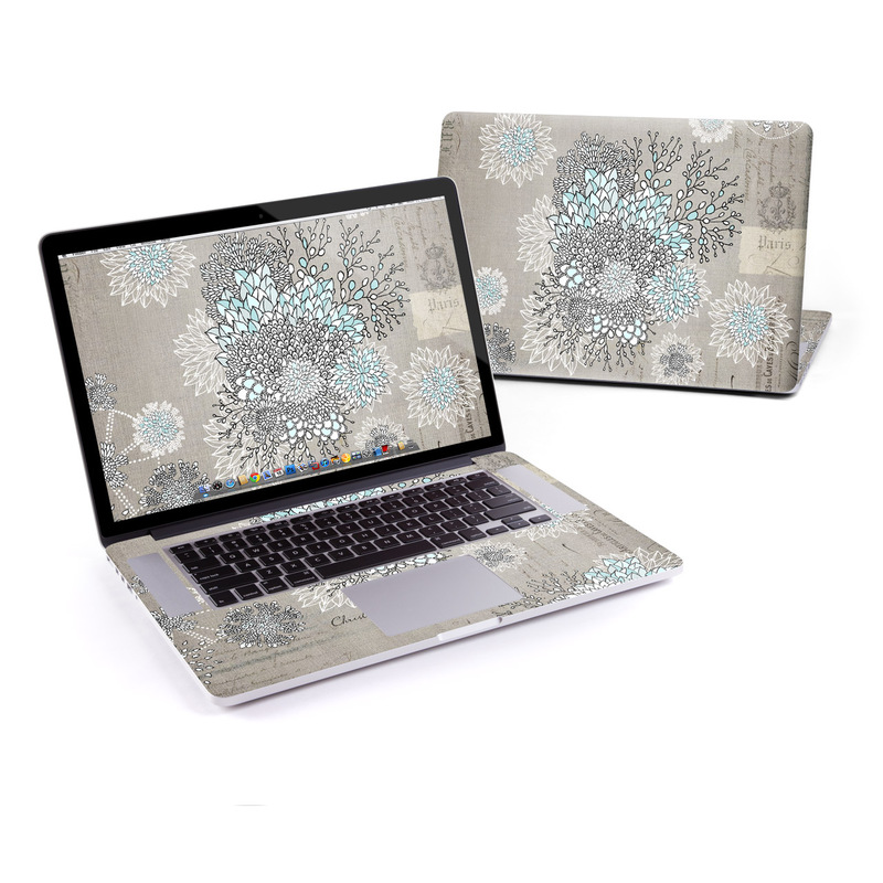 MacBook Pro Pre 2016 Retina 15-inch Skin design of Pattern, Pedicel, Textile, Floral design with blue, white, black colors