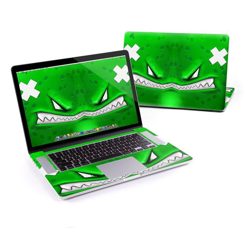 MacBook Pro Pre 2016 Retina 15-inch Skin design of Green, Font, Animation, Logo, Graphics, Games with green, white colors