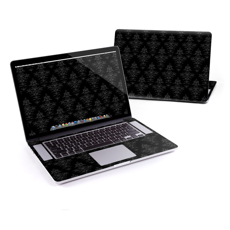 MacBook Pro Pre 2016 Retina 15-inch Skin design of Black, Pattern, Design, Monochrome, Black-and-white, Darkness, Monochrome photography, Symmetry with black, gray colors