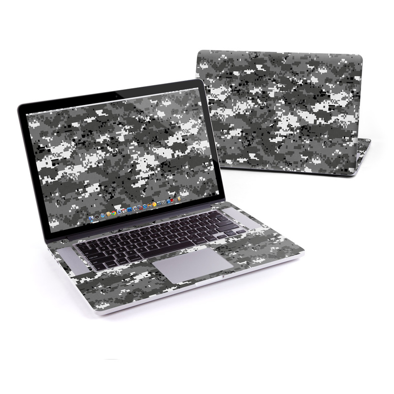 MacBook Pro Pre 2016 Retina 15-inch Skin design of Military camouflage, Pattern, Camouflage, Design, Uniform, Metal, Black-and-white with black, gray colors