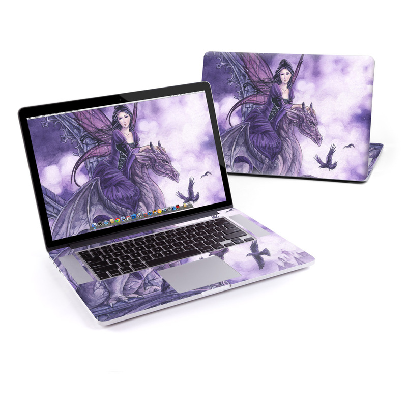 MacBook Pro Pre 2016 Retina 15-inch Skin design of Cg artwork, Violet, Fictional character, Purple, Mythology, Illustration, Mythical creature, Woman warrior, Art with gray, blue, black, purple, pink colors