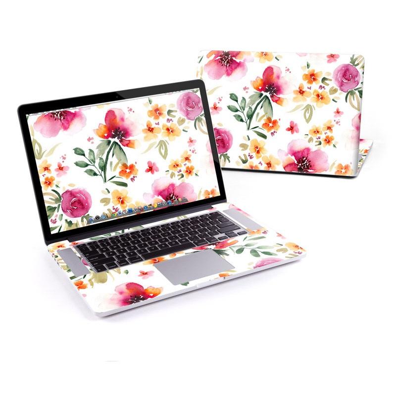 MacBook Pro Pre 2016 Retina 15-inch Skin design of Flower, Floral design, Pink, Pattern, Petal, Plant, Botany, Design, Wildflower, Clip art with white, pink, red, orange, green colors