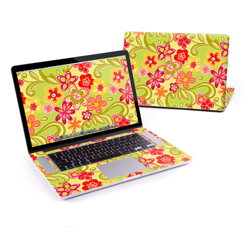 MacBook Pro Pre 2016 Retina 15-inch Skin design of Pattern, Yellow, Floral design, Design, Visual arts, Wrapping paper, Plant, Flower, Motif with green, gray, pink, red, orange colors