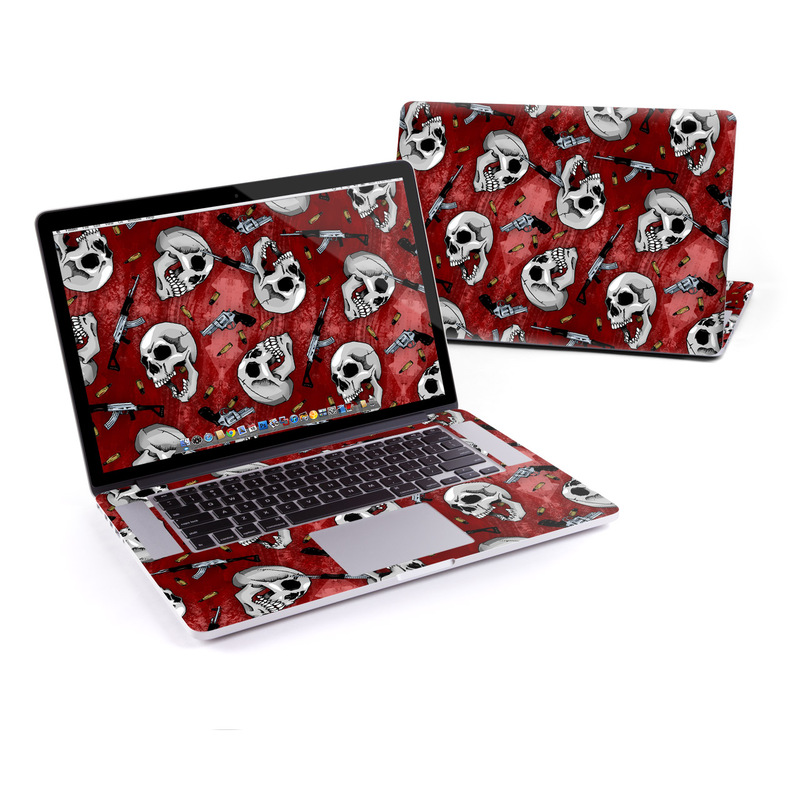 MacBook Pro Pre 2016 Retina 15-inch Skin design of Skull, Red, Bone, Personal protective equipment, Skeleton, Mask, Font, Sports gear, Headgear, Pattern with black, red, gray colors