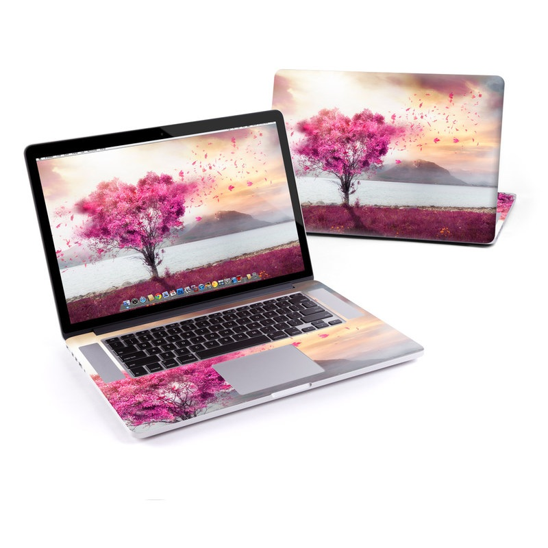 MacBook Pro Pre 2016 Retina 15-inch Skin design of Sky, Nature, Natural landscape, Pink, Tree, Spring, Purple, Landscape, Cloud, Magenta with pink, yellow, blue, black, gray colors