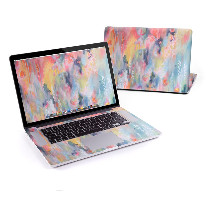 MacBook Pro Pre 2016 Retina 15-inch Skin design of Painting, Watercolor paint, Modern art, Acrylic paint, Art, Visual arts, Paint, Artwork, Dye with blue, pink, orange, yellow, red, white colors