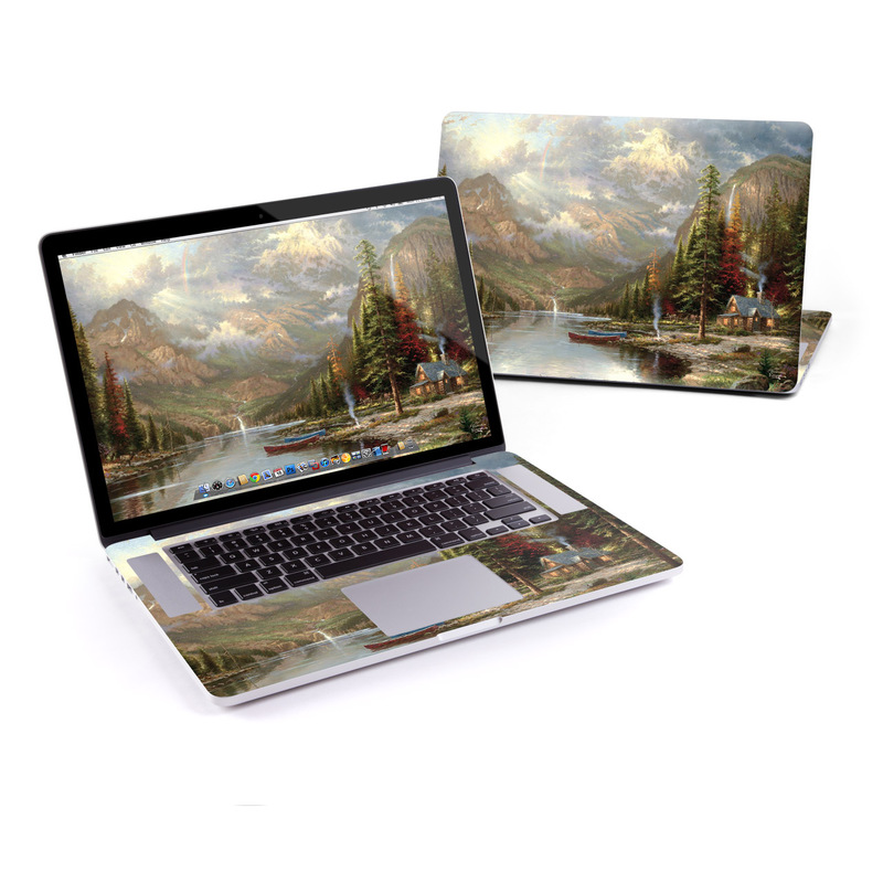MacBook Pro Pre 2016 Retina 15-inch Skin design of Natural landscape, Nature, Painting, Tree, Landscape, Biome, Sky, Watercolor paint, Forest, Reflection with black, gray, green, red colors