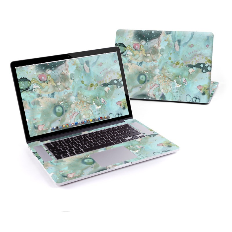 MacBook Pro Pre 2016 Retina 15-inch Skin design of Aqua, Blue, Green, Watercolor paint, Pattern, Turquoise, Organism, Design, Art, Painting with blue, green, pink colors