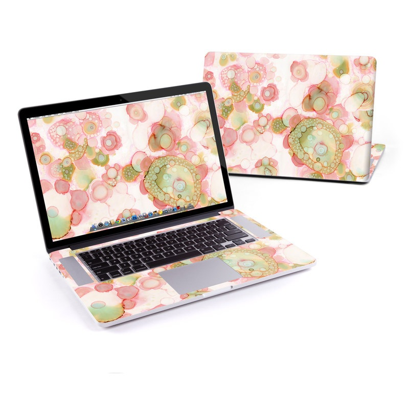 MacBook Pro Pre 2016 Retina 15-inch Skin design of Pink, Pattern, Design, Textile, Circle, Wallpaper, Wrapping paper, Art with pink, green colors