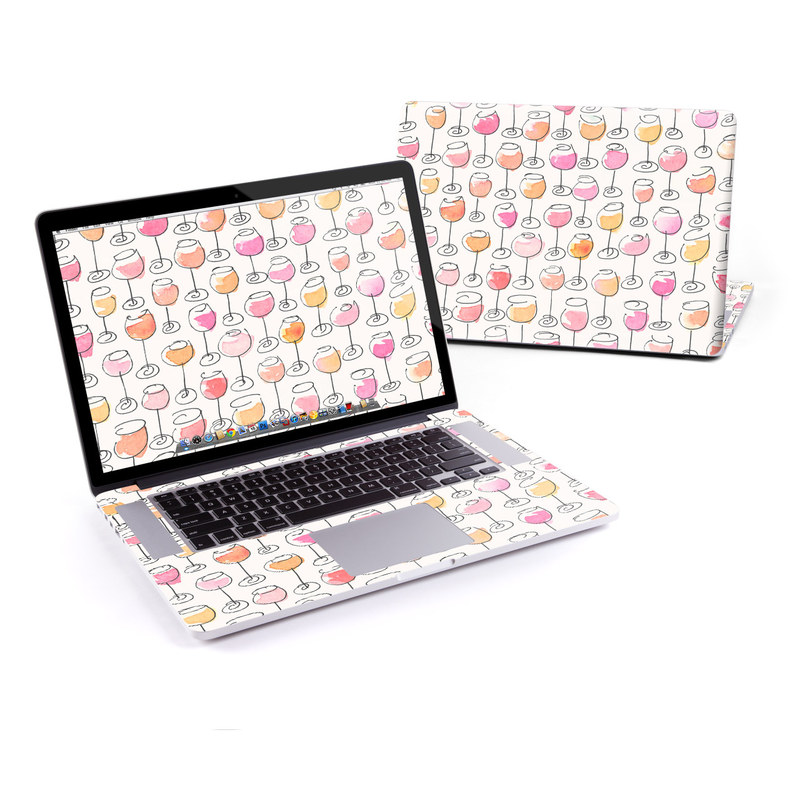 MacBook Pro Pre 2016 Retina 15-inch Skin design of Pattern, Wrapping paper, Pink, Orange, Line, Design, Textile, Peach, Wallpaper with pink, red, orange, white, black colors