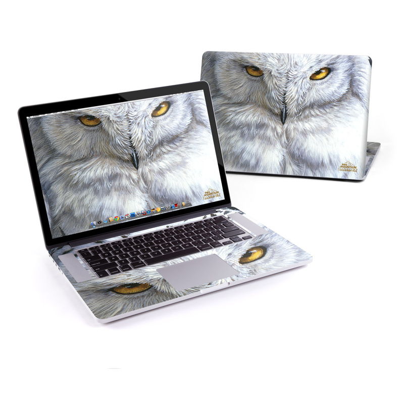 MacBook Pro Pre 2016 Retina 15-inch Skin design of Owl, Bird, Bird of prey, Snowy owl, great grey owl, Close-up, Eye, Snout, Wildlife, Eastern Screech owl with gray, white, black, blue, purple colors