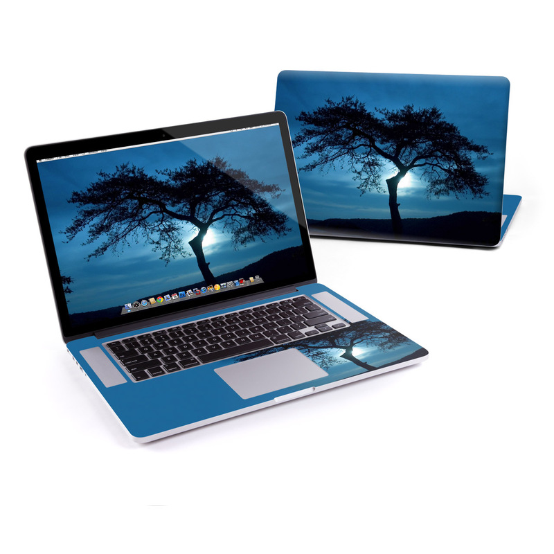 MacBook Pro Pre 2016 Retina 15-inch Skin design of Sky, Tree, Nature, Natural landscape, Blue, Horizon, Branch, Woody plant, Dusk, Savanna with black, blue, gray colors