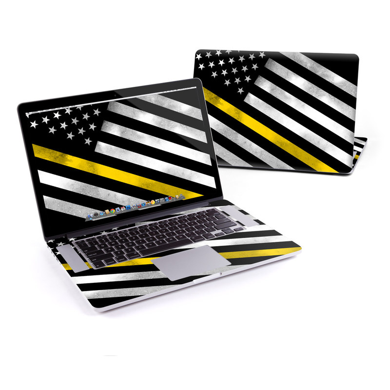 MacBook Pro Pre 2016 Retina 15-inch Skin design of Flag of the united states, Flag, Yellow, Line, Black-and-white, Pattern, Monochrome, Graphic design, Parallel with black, white, gray, yellow colors