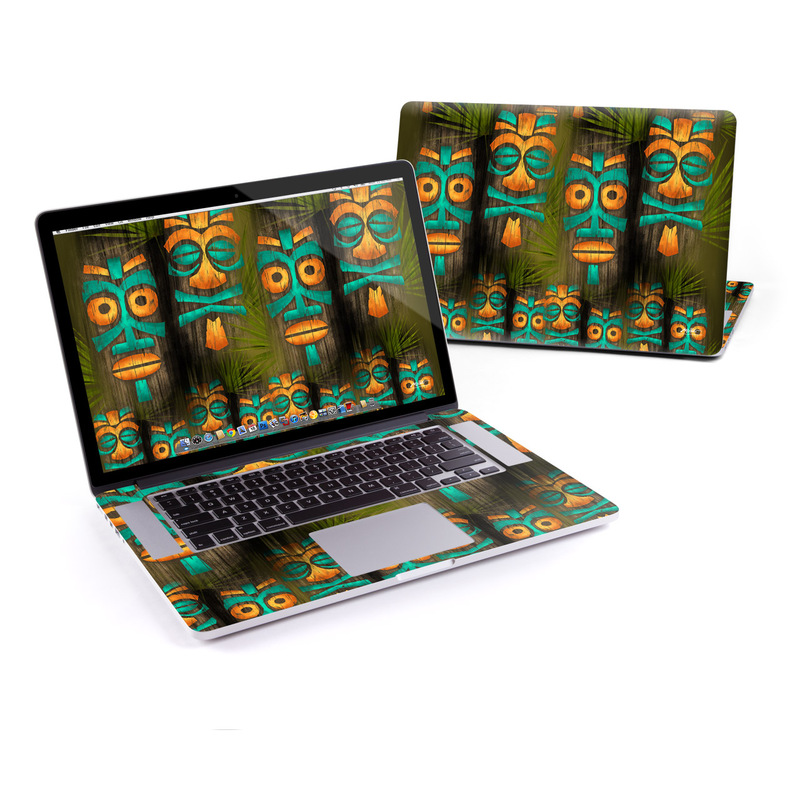 MacBook Pro Pre 2016 Retina 15-inch Skin design of Lighting, Orange, Totem, Art, Tiki, Totem pole, Symmetry, Fictional character, Wood, Visual arts with black, blue, red, green, orange colors