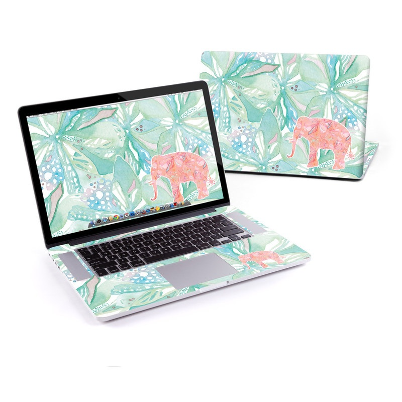 MacBook Pro Pre 2016 Retina 15-inch Skin design of Aqua, Turquoise, Pattern, Wrapping paper, Design, Illustration, Plant, Gift wrapping, Art with blue, pink, white, green colors