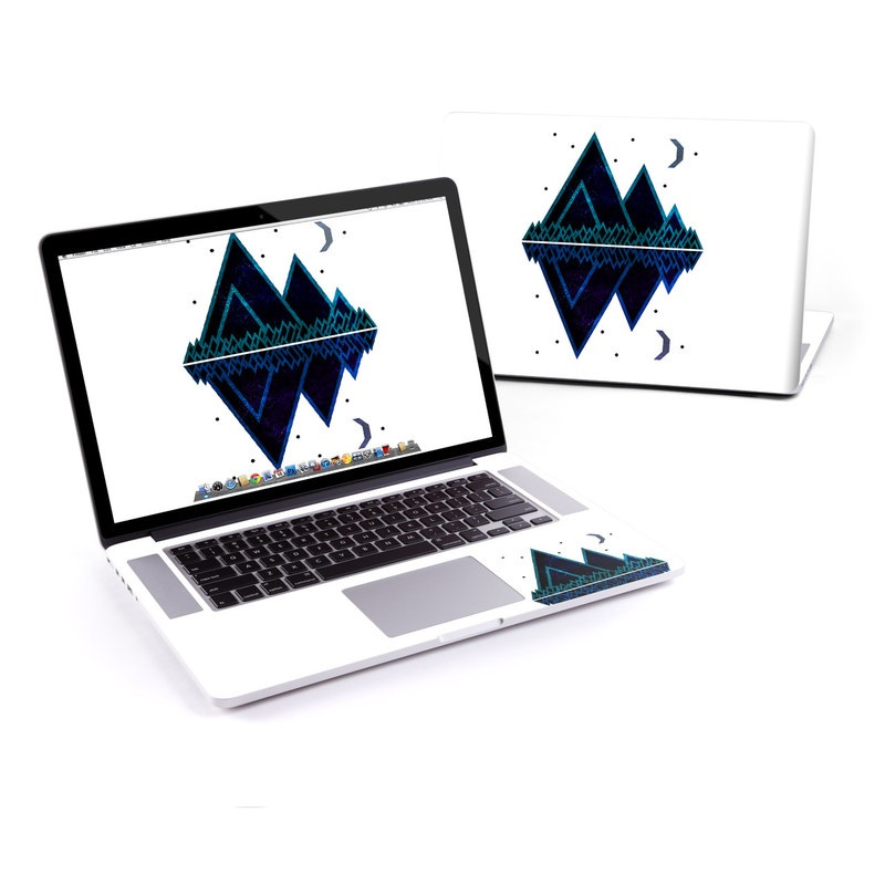 MacBook Pro Pre 2016 Retina 15-inch Skin design of Blue, Triangle, Line, Design, Logo, Electric blue, Graphic design, Font, Graphics, Pattern with white, blue, black, purple colors