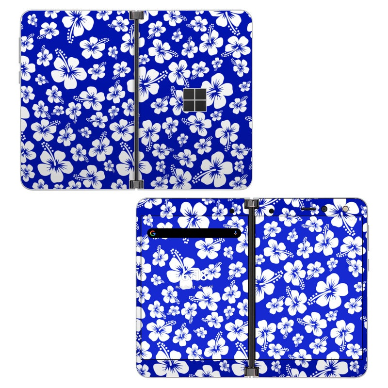 Microsoft Surface Duo Skin design of Blue, Pattern, Plant, Flower, Petal, Design, Wildflower, Floral design, Black-and-white, Visual arts with blue, white colors