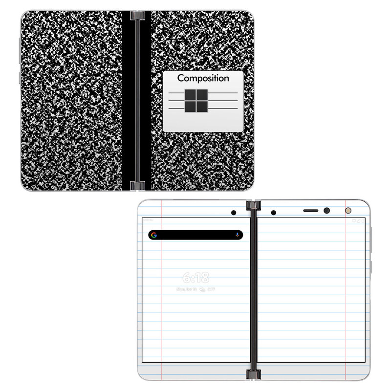 Microsoft Surface Duo Skin design of Text, Font, Line, Pattern, Black-and-white, Illustration with black, gray, white colors