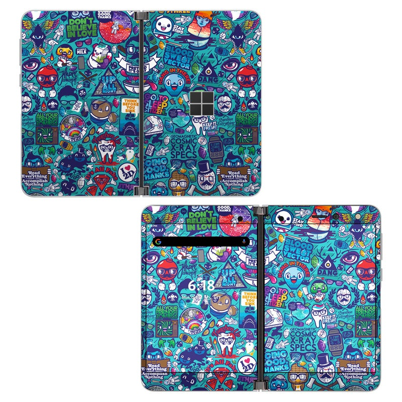 Microsoft Surface Duo Skin design of Art, Visual arts, Illustration, Graphic design, Psychedelic art with blue, black, gray, red, green colors