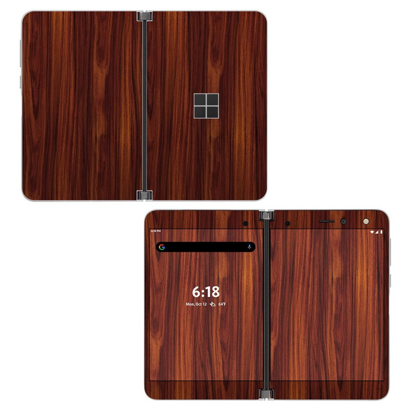 Microsoft Surface Duo Skin design of Wood, Red, Brown, Hardwood, Wood flooring, Wood stain, Caramel color, Laminate flooring, Flooring, Varnish with black, red colors