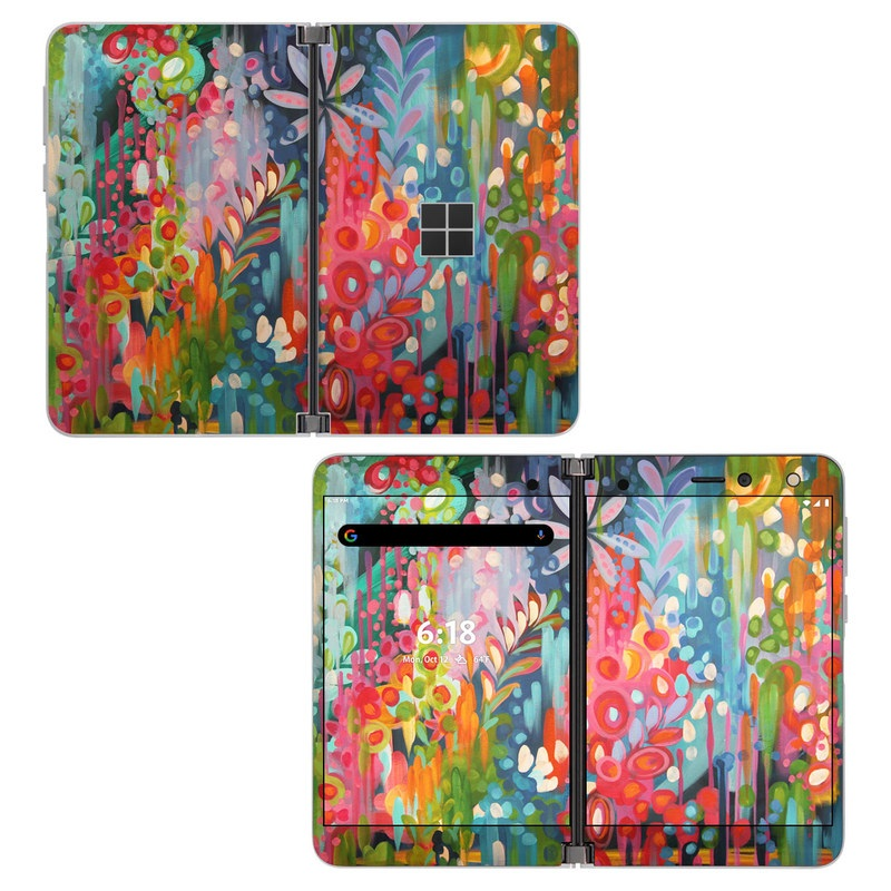 Microsoft Surface Duo Skin design of Painting, Modern art, Acrylic paint, Art, Visual arts, Watercolor paint, Child art, Flower, Plant, Tree with blue, red, orange, purple, yellow, pink, green colors