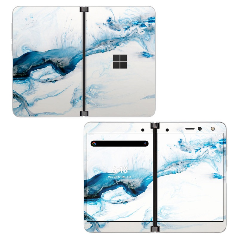 Microsoft Surface Duo Skin design of Glacial landform, Blue, Water, Glacier, Sky, Arctic, Ice cap, Watercolor paint, Drawing, Art with white, blue, black colors