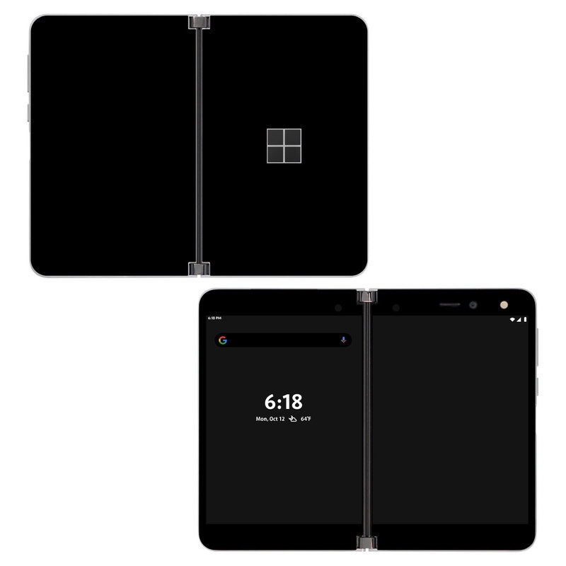Microsoft Surface Duo Skin design of Black, Darkness, White, Sky, Light, Red, Text, Brown, Font, Atmosphere with black colors